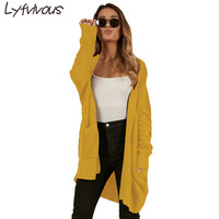 2018 New Fashion Autumn Winter Long Sleeve Knit Long Coat Femle Casual 3 colours pocket Cardigans Loose Open Stich Solid Sweater