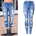2017 Women Hole Skinny Jeans Famale Ripped Elastic Washed Bleached Pencil Jeans Ladies Mid Waist Denim Pants Trousers WJNAM051