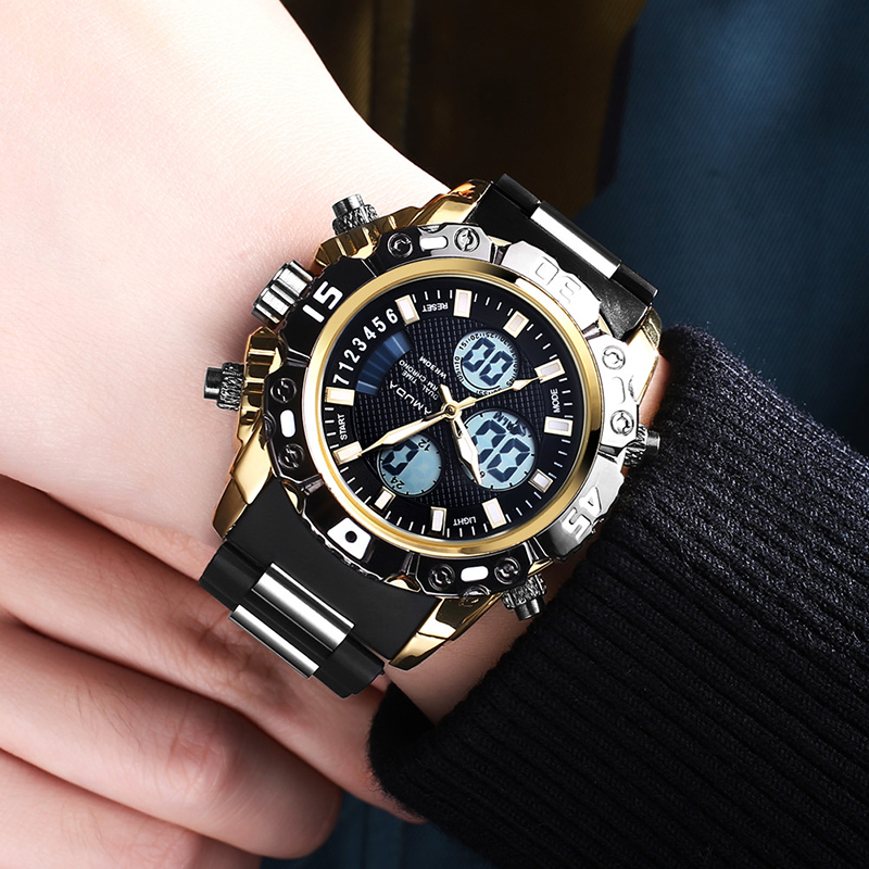 AMUDA Men Sports Watches Multifunction Alarm Chronograph Waterproof Gold Digital Quartz Wristwatches Clock Relogio Masculino 2018 amuda gold digital watch relogio masculino waterproof led watches for men chrono full steel sports alarm quartz clock saat