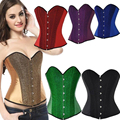 New 6 Colors Sexy Satin Lace Up Boned Sequin Burlesque Corset Bustier Top Overbust Corsets And Bustier S-2XL