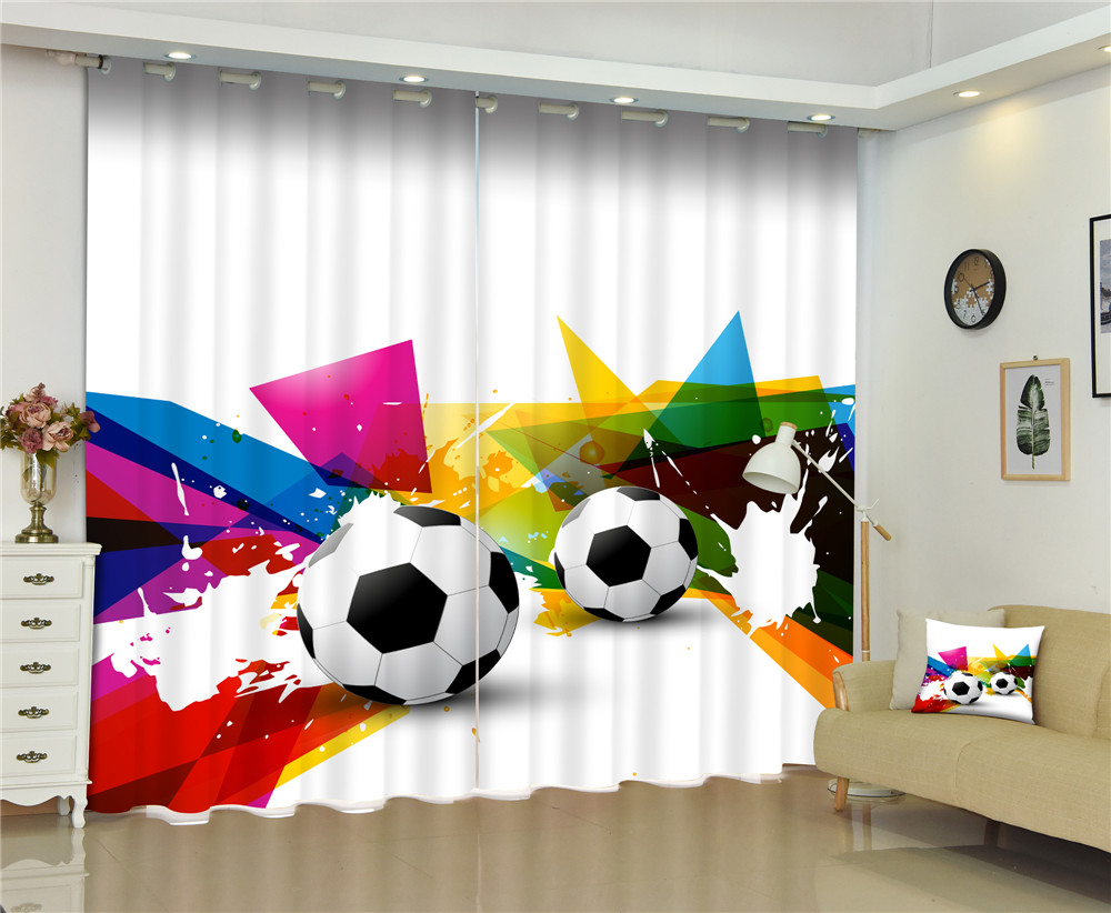 Curtains Football window Luxury  Blackout 3D Curtains For Living Room  Children Bedroom Drapes cortinas Rideaux Customized sizeCurtains Football window Luxury  Blackout 3D Curtains For Living Room  Children Bedroom Drapes cortinas Rideaux Customized size