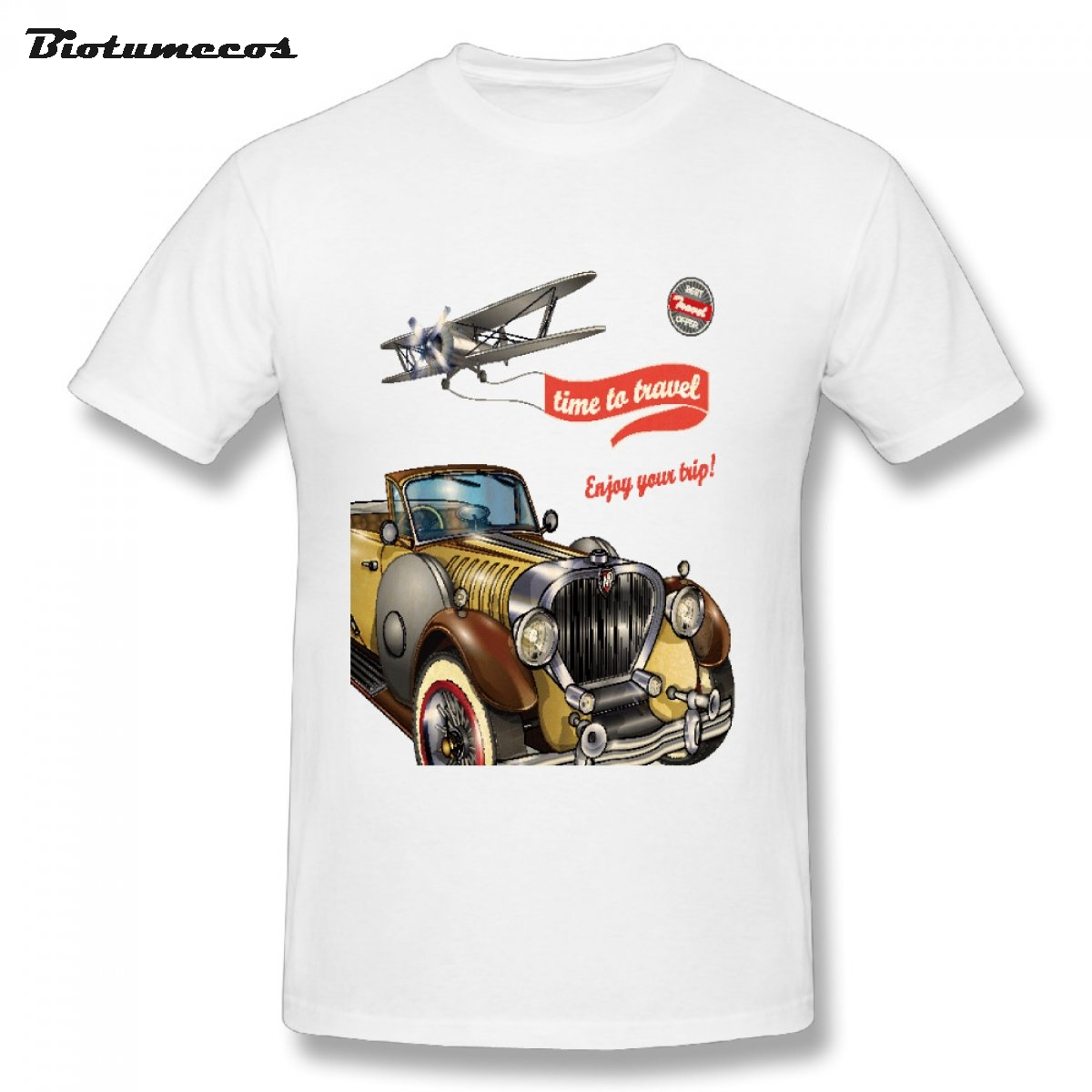 Summer Classic Design Mens T shirt Time To Travel Enjoy Your Trip Brown Bubble Car Glider Printed Fashion Clothes MTCC094