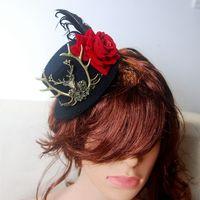 فريد اليدوية البسيطة الأعلى هات steampunk أليس العجائب الغزلان رئيس رئيس ارتداء روز الشعر الاكسسوارات القوطية