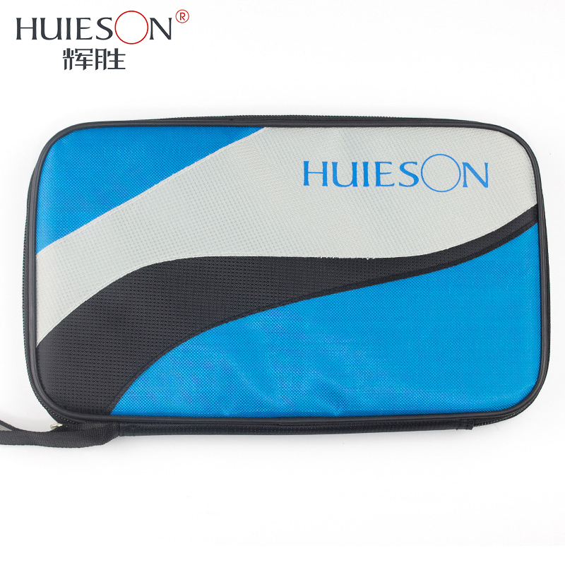 Huieson Rectangle Oxford Cloth Table Tennis Bag for Racket Lightweight Ping Pong Paddle Bat Container Case Blue Patchwork Color