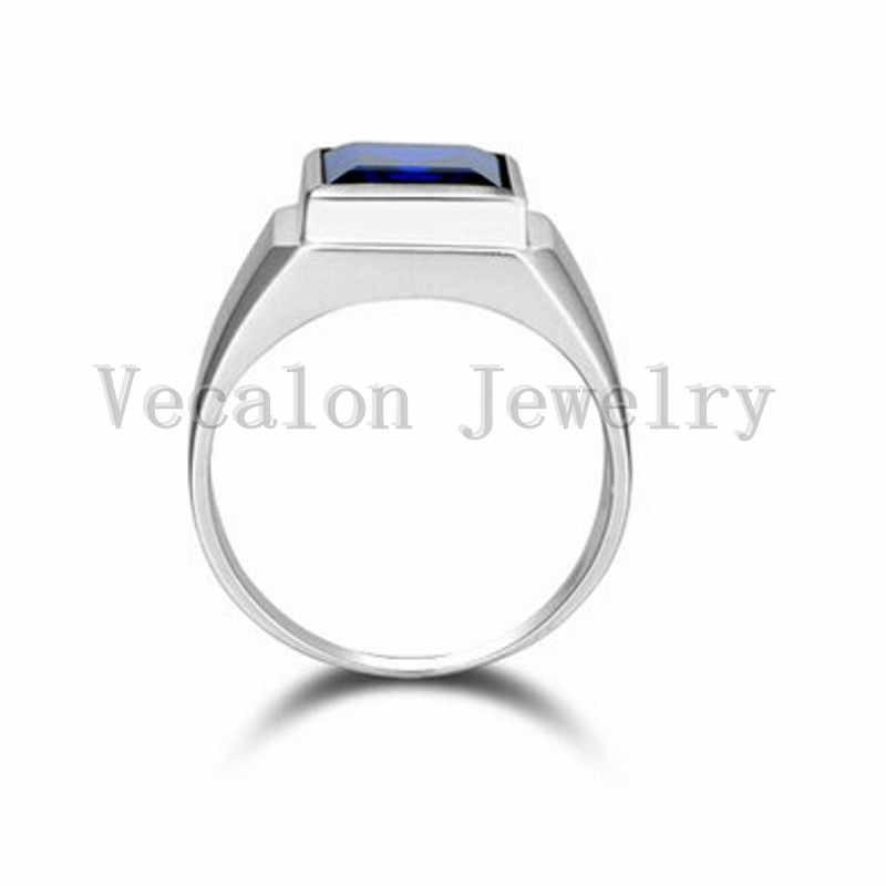 Vecalon mode Schmuck hochzeit Band ring für Männer 8ct stein 5A Zirkon cz 925 Sterling Silber männlich Engagement Finger ring