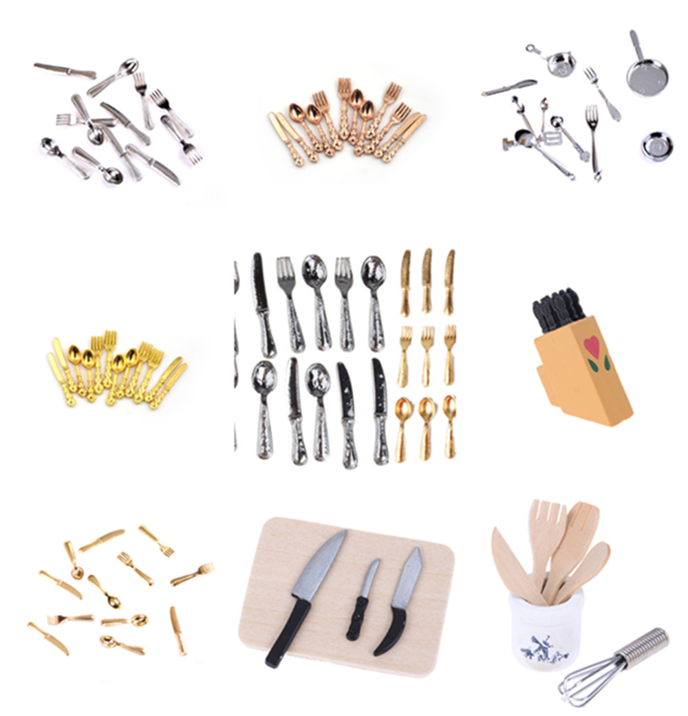 12Pcs 1:12 Mini Dollhouse Miniatures Tableware Cutlery Knife Fork Spoon Cake Knife Chopping Block  Kitchen Food Furniture Toys