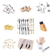 12Pcs 1:12 Mini Dollhouse Miniatures Tableware Cutlery Knife Fork Spoon Cake Knife Chopping Block Kitchen Food Furniture Toys(China)