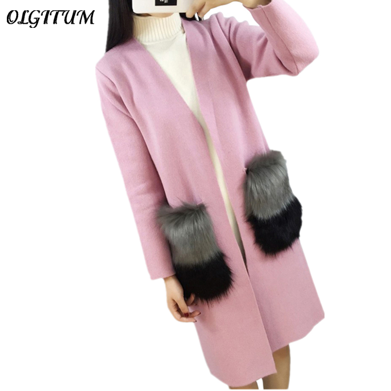 Women Cardigan New Autumn Female Cashmere Cardigan Long Sweater V Neck Knit Shirt Slim Version of The Big Yards coat fox fur