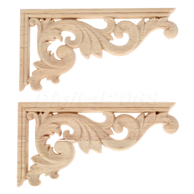 13*7*0.8CM Left /Right Wood Carved Corner Onlay Applique Unpainted ...