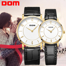 DOM lovers couple luxury brand waterproof style quartz leather watch M-31+G-31