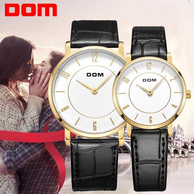 Dom amantes pareja estilo de cuarzo reloj de cuero marca de lujo impermeable m-31 + g-31