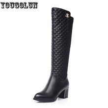 Women Autumn Winter Knee High Boots Fashion ladies Square Thick heels Boots Sexy Woman Round toe Martin Shoes Womens Black Boots