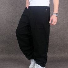 Мужские Широкие джинсовые штаны в стиле хип-хоп, черные повседневные джинсовые брюки, мешковатые джинсы для рэпера, скейтборда, свободные джинсы, джоггеры 71805