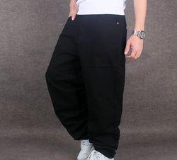 Мужские Широкие джинсовые брюки в стиле хип-хоп, черные повседневные джинсы, мешковатые джинсы для скейтборда, свободные джинсы для бега, ...