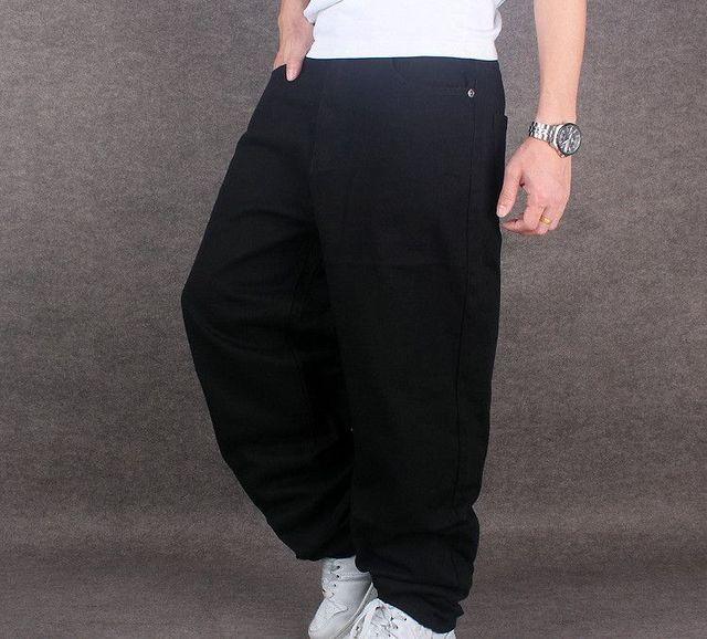 noir Hommes Hip 2017 jean Casual Hop Large Jambe Pantalon Denim aSSwgxPF