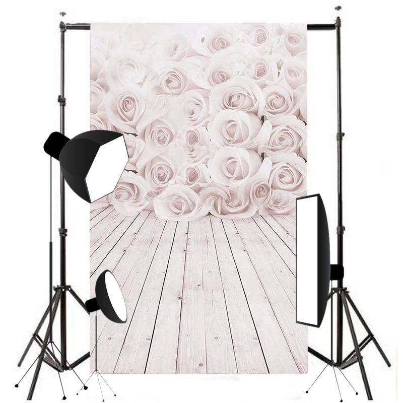 3x5ft Vinyl White Rose wood Wall Floor Photography Background Waterproof Fit For Studio Photo Props Photographic Backdrop Cloth