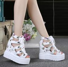 2019 Sexy Wedges Super High Heels 8 CM Lace Up White Casual Shoes Women's Party Shoes Platform shoes Women fashion sandals moraima snc pearl sandals 9 cm high heels sandals women platform wedges shoes wummer 2018 new string bead bohemia party shoes