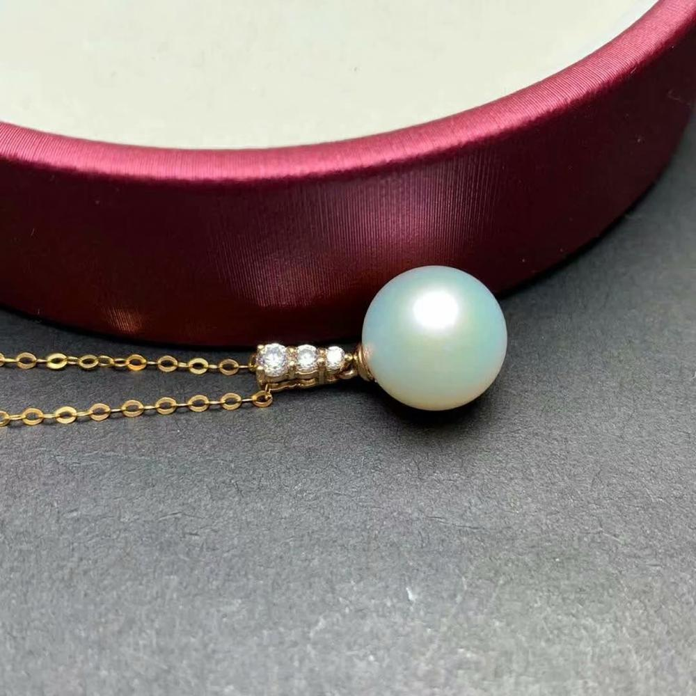 shilovem 18k yellow gold Natural freshwater pearls pendants fine Jewelry women trendy no necklace Christmas gift mymz9 5 1099zz in Pendants from Jewelry Accessories