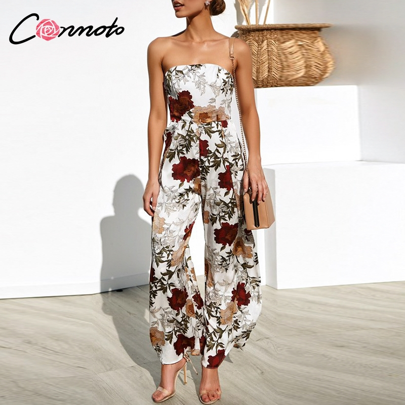 Conmoto Strapless Feminino 2019 Summer   Jumpsuit   Romper Floral Boho Beach   Jumpsuit   Wide Leg Long Backless   Jumpsuits   Rompers
