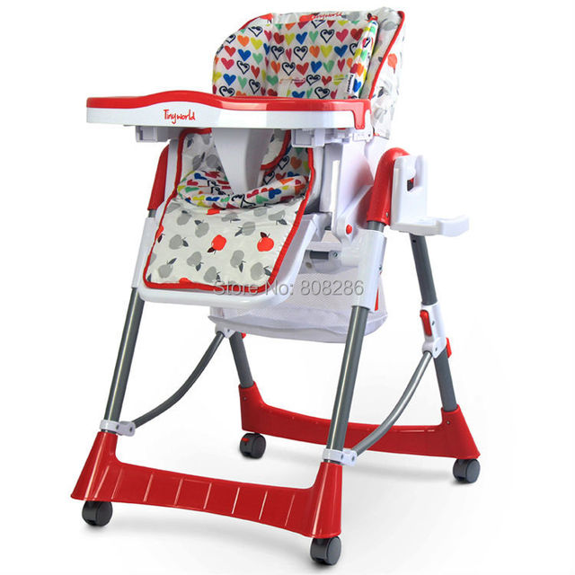Beau High Chairs Baby Dinning Chairs Safe Style Red Colors 4 Wheels Kid Table  For Feeding From