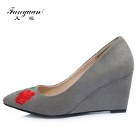 b0be8f1d0 Luxury Flock Women Wedges Pump 2017 Spring Autumn Med High Heel Flower  Embroider Vintage Shoes Pointed