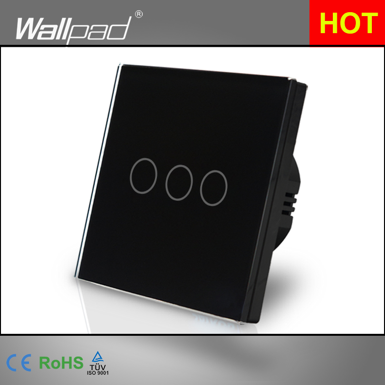 Hot Sales Wallpad Luxury Touch Switch Crystal Glass 3 Gang 1 Way EU UK Standard Black Touch Switch On-Off-On Free Shipping hot sales 1 gang 2 way wallpad crystal glass uk eu double control push button light wall switch amazing discount