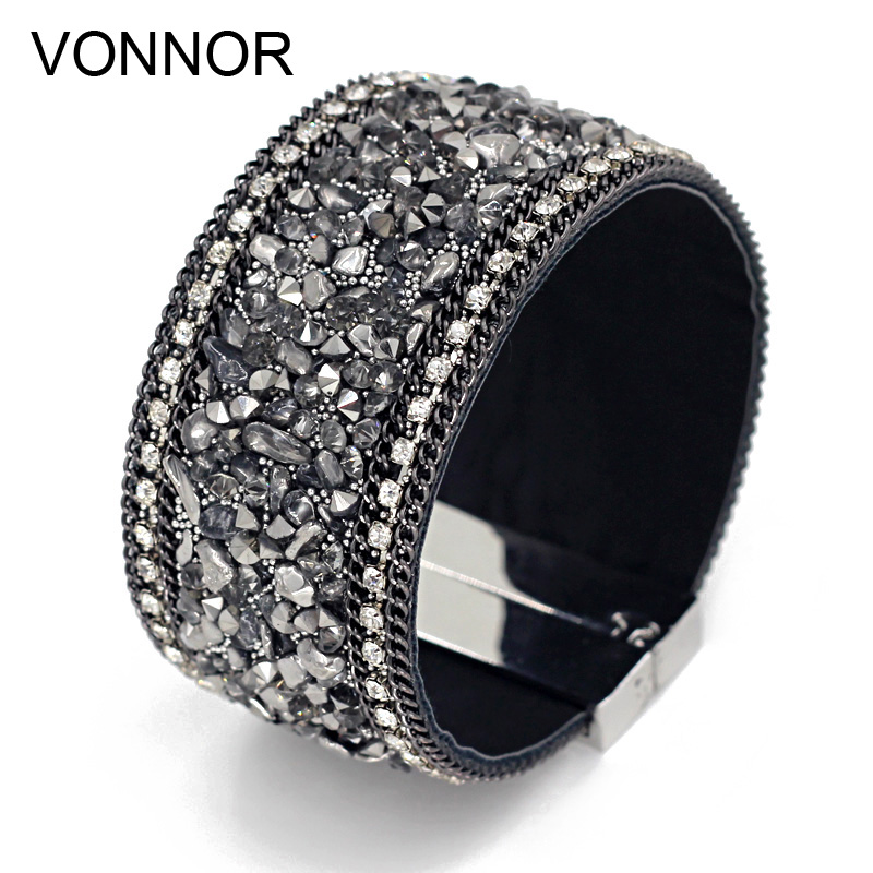 VONNOR Jewelry Bracelets for Women Men Leather Stones Bangles Bracelets Female Accessories Wrap Bracelet Dropshipping