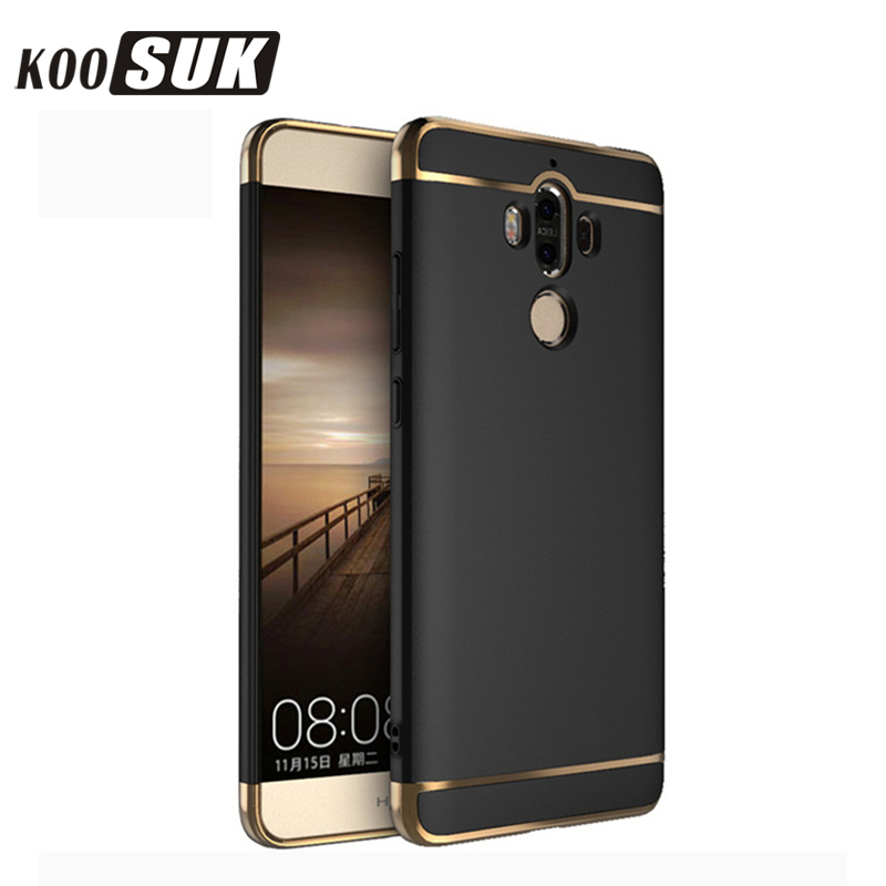 Huawei Ascend Mate9 Mate8 Mate7 Հեռախոսի պաշտպանիչ տուփ Huawei mate 9 8 7 Back Cover 3 in 1 Gold plated Hard Shell Black Coque