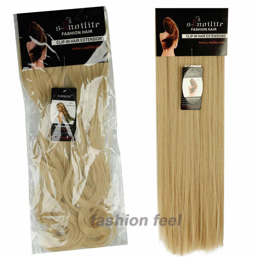 S-noilite 8 шт./компл. 24 дюйма длинные прямые настоящие толстые Полные Волосы Уток клип в наращивание волос черный коричневый синтетические волосы
