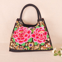 New Embroidery Multi Use Handbags Hot Vintage National Versatile Casual Tote Top Shoulder Bag Lady Travel