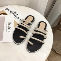 slipper women Fashion summer shoes rhinestone sandals Flat Slides Crystal korean style Hoof Heels tip binding slides woman