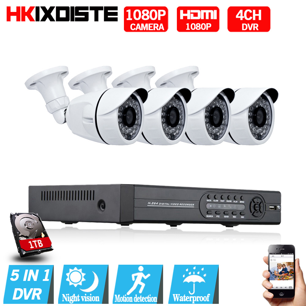 4CH AHD DVR 1080P HDMI CCTV Camera System 4PCS 2.0MP 3000TVL P2P Outdoor Waterproof Security Camera Night Vision Video Kit sannce ahd 4ch cctv system 720p hdmi dvr kit 1200tvl outdoor security waterproof night vision 4 cameras surveillance kits