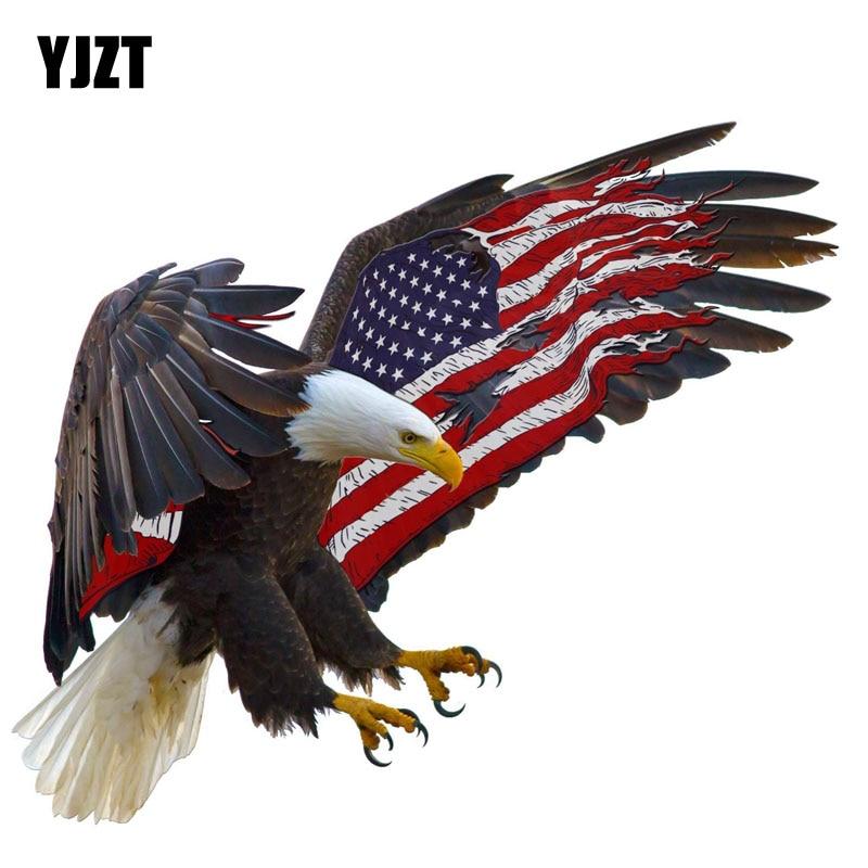YJZT 14CM*11.8CM Car Accessories Motorcycle American Eagle Decal Car Sticker PVC 6-0308