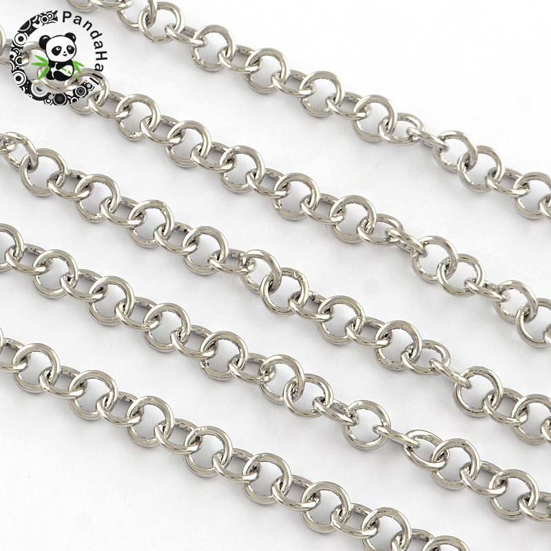 201 Stainless Steel Soldered Cross Chains, Stainless Steel Color, 5.5x1mm; about 25m/roll