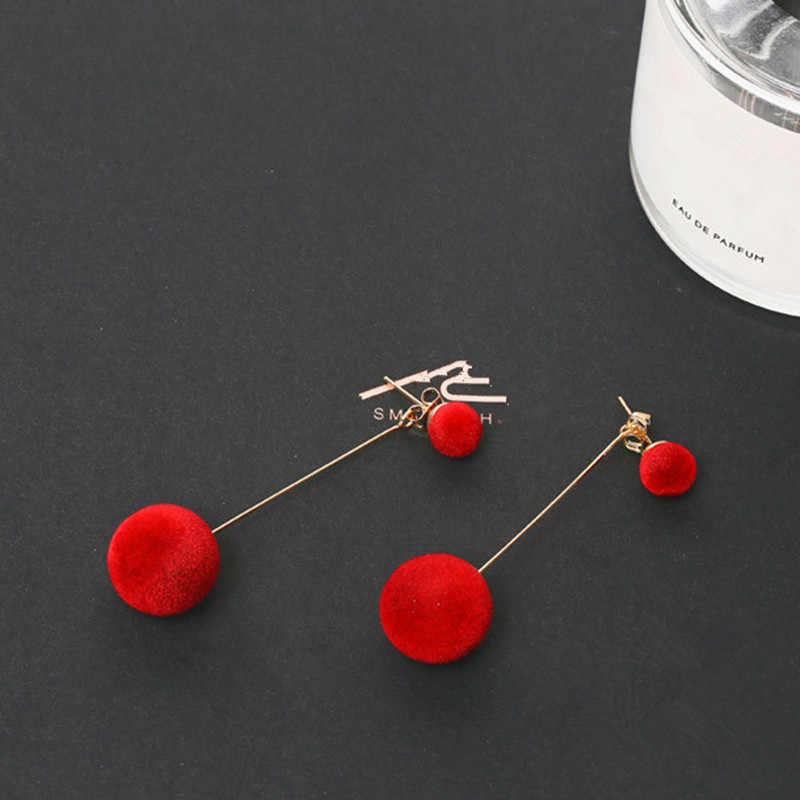 הצהרת חדש אדום שחור אופנה קטיפה כדור עגילים לנשים קוריאני קטיפה עגול טאסל ארוך עגילי תכשיטי מתנה