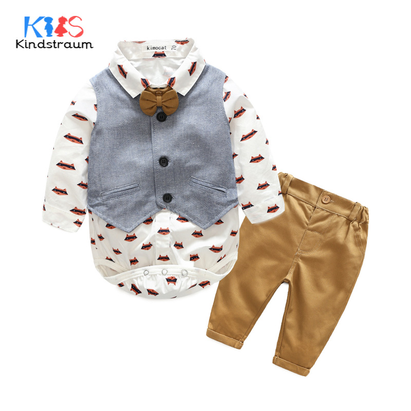 Kindstraum Toddler Boys Gentleman Suits 3pcs Cartoon Printed Shirt Romper+Vest+Pant Brand Baby Kids Wedding Clothing Sets, MC937