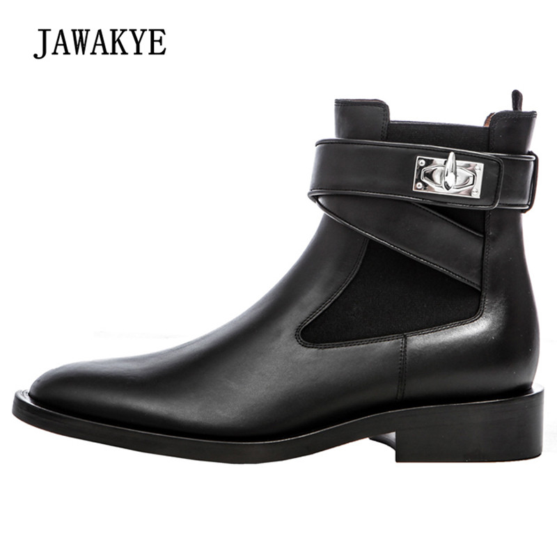 2018 Silver Shark Lock Ankle Boots For Women Real Leather Round Toe Martin Boots Woman Fashion Chelsea Boots цена