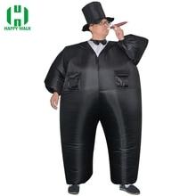Карнавальный костюм для праздника, надувной костюм сильного человека, забавные вечерние костюмы черного цвета, карнавальный костюм на Хэллоуин для жениха и взрослых