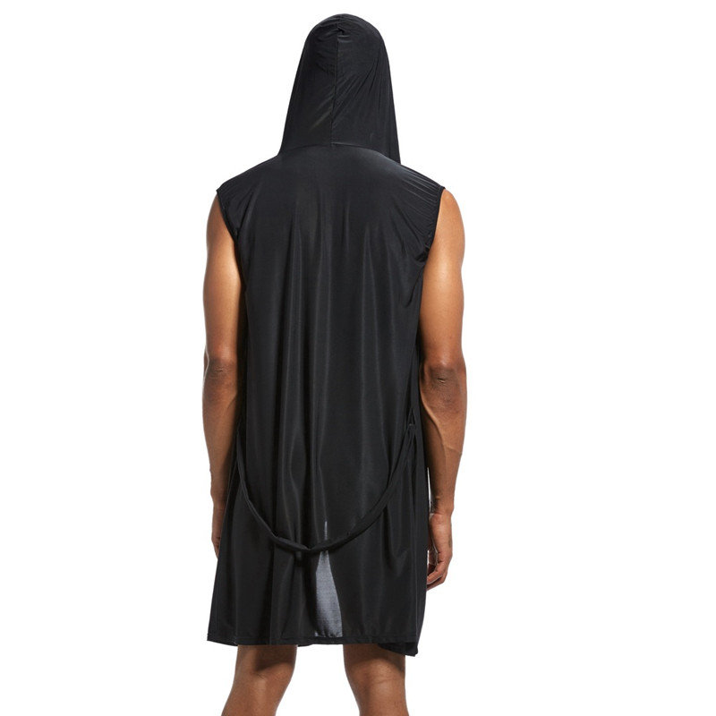 Kimono Men Bathrobe Hoodie Sleeveless Rayon Silk Robe Man Sexy Home Sleepwear Big Size Belt Gown Cool Solid Pjs
