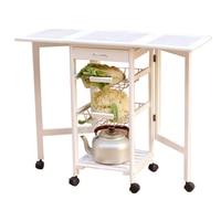 Portable Folding Kitchen Rolling Tile Top Drop Leaf Storage Trolley Cart White