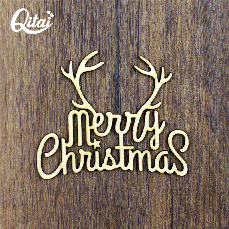 "QITAI 12pcs New ""Deer"" DIY scrapbooking Wooden Products Flourish Nature Wood Color Scrapbooking crafts Merry Christmas WF118"