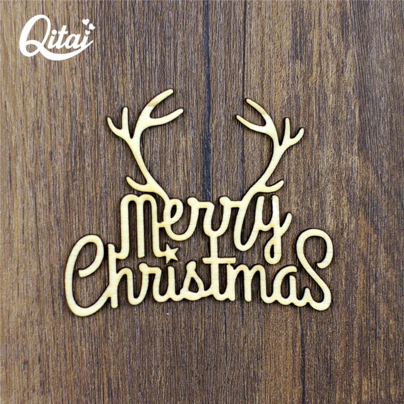 """QITAI 12stk Ny """"Hjort"""" DIY scrapbooking Træprodukter Blomster Natur Træ Farve Scrapbooking håndværk God jul WF118"""