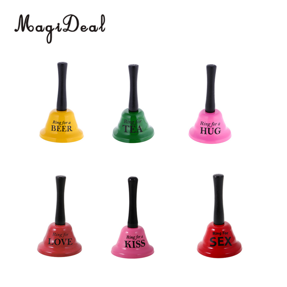 MagiDeal Funny Small Handbell Party Toy Gag Gift Joke Game Prop Ring For Tea/Beer/Hug/Love/Kiss/Sex Bachelorette Hens Stag Gifts