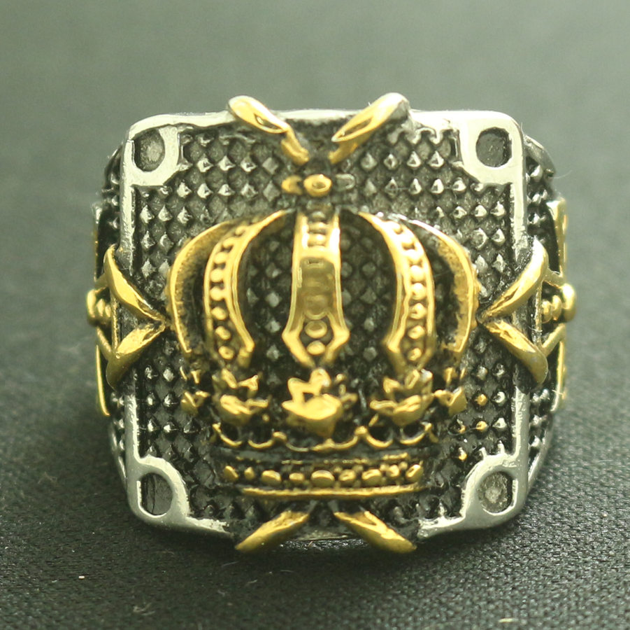 Men 316L Stainless Steel Cool Cross Crown Punk Gothic Newest Ring