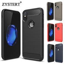 For Apple iPhone X Slim Case Silicone+Carbon Fiber Brushed Armor Shockproof Phone Back Case For Apple iPhone X Back Cover Coque