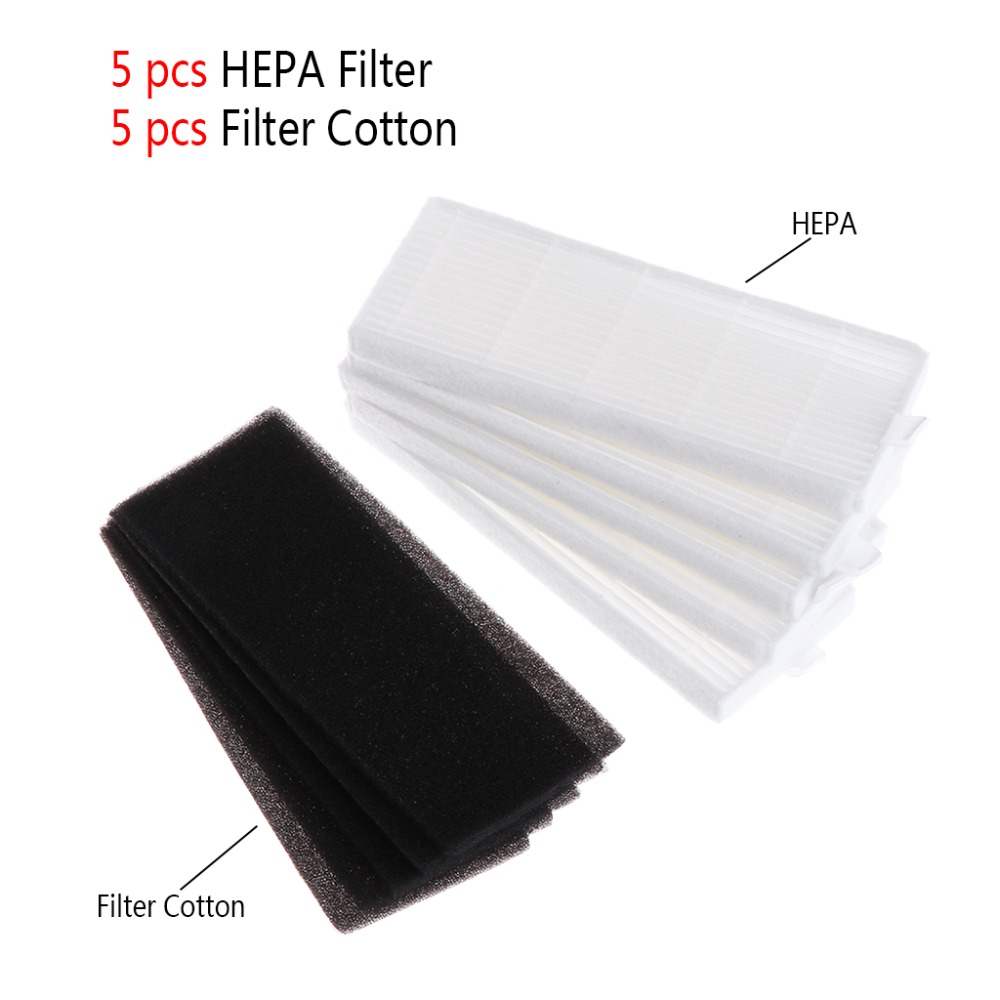 SKYMEN 10Pcs HEPA Filters Element+Filter Cotton Replacements 135x50mm For Ecovas DN621 DN621+ DN620 For ILife A6 A4 A4S New