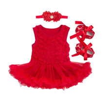 New Children Dress Sets for Girl Body Red Bodysuit with Ruffles Tutu Dress+Shoes+Headband 3pcs Infant Clothing Summer Clothing(China)