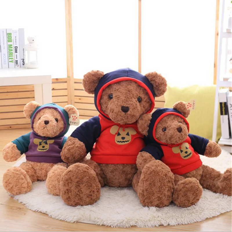 Fancytrader 1pc Giant Plush Teddy Bear in Halloween T-shirt Soft Halloween Brown Bears Decoration Gift for Children Friends fancytrader big giant plush bear 160cm soft cotton stuffed teddy bears toys best gifts for children