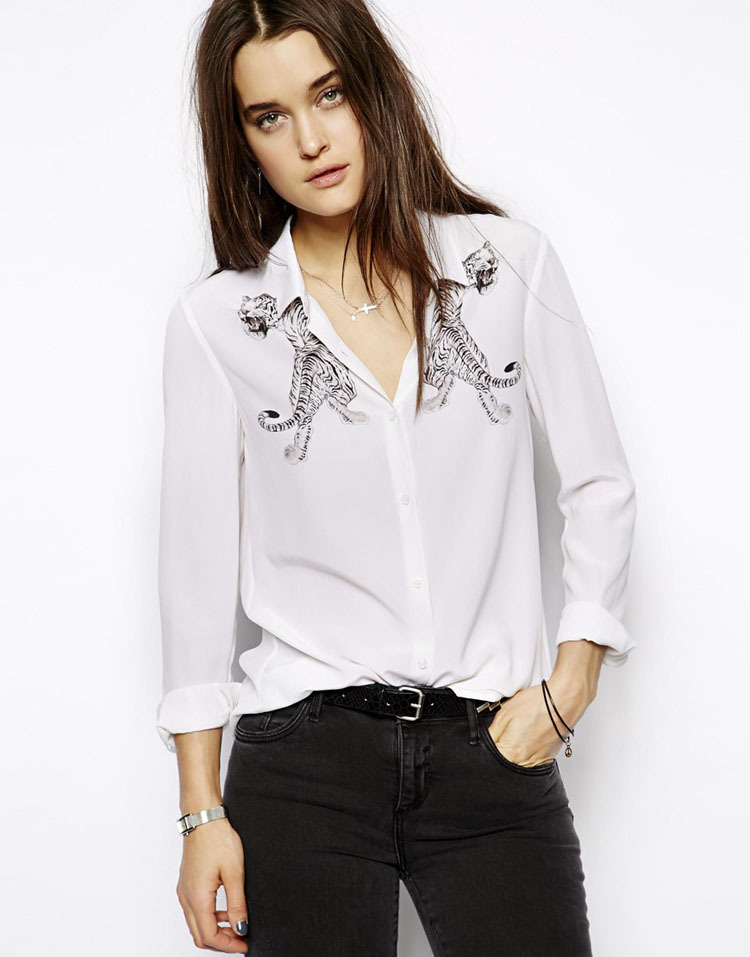 dd5fc17a12 Semi Formal Women White Long Sleeve Turn Down Collar Buttons Street Style  Double Tiger Embroidered Shirts B0143-in T-Shirts from Women s Clothing on  ...