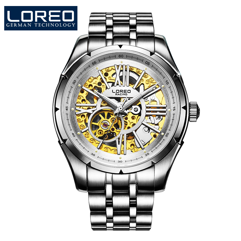 LOREO Wristwatches Hollow Automatic Mechanical Complete Calendar Scratch Resistant Stainless Steel Waterproof Business Watch J05 loreo men watch hollow automatic mechanical sapphire 50m stainless steel 316l scratch resistant business elegant watch l06
